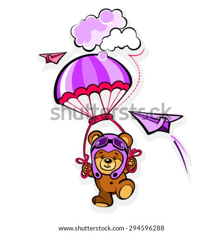 Cartoon Bear in a pilot hat with parachute  - stock vector