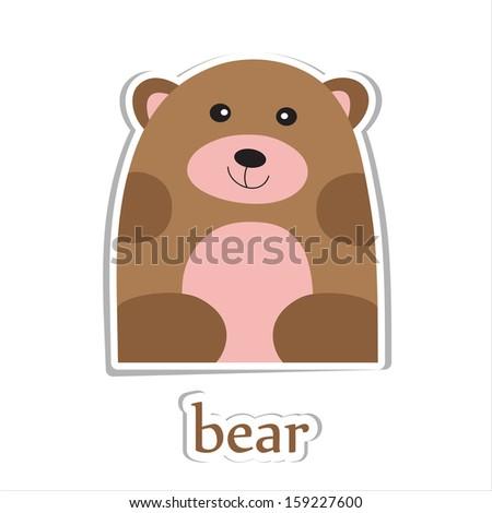 Cartoon bear isolated on white. Education design. Vector illustration. - stock vector