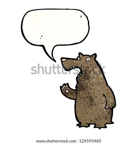 cartoon bear talking - stock vector