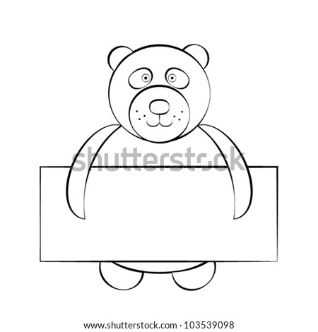 Cartoon bear with a card. Jpg version also available in gallery - stock vector