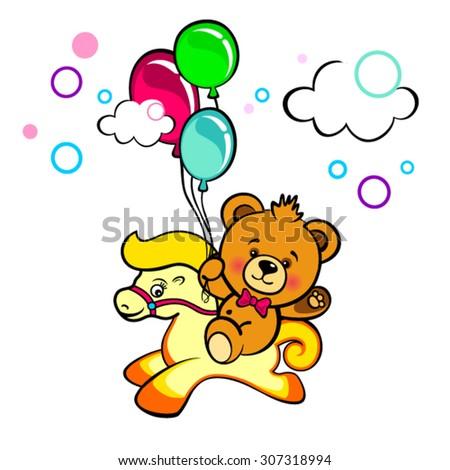 Cartoon Bear with balloons rides pony - stock vector