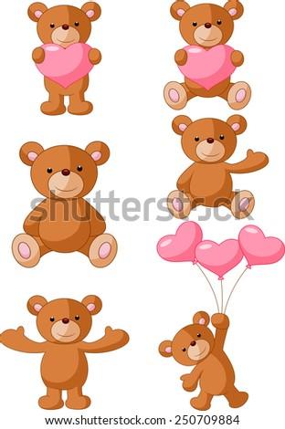 Cartoon Bear with pink love - stock vector