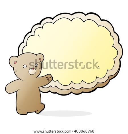 cartoon bear with text space cloud - stock vector