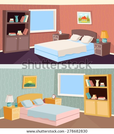 Cartoon Bedroom Apartment Living room Interior House Room Retro Vintage Vector Illustration - stock vector