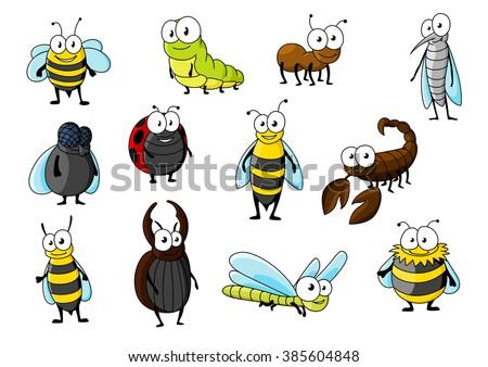 Cartoon bee and ant, red spotted ladybug and fat fly, caterpillar and dragonfly, mosquito and wasp, fluffy bumblebee, kind stag beetle, hornet and scorpion characters. Insect animals - stock vector