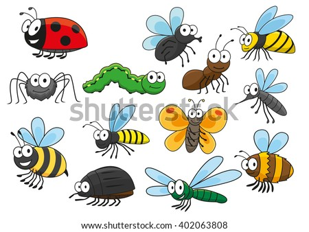 Cartoon bee and bug, butterfly and caterpillar, fly and ladybug, spider and mosquito, wasp and ant, bumblebee, dragonfly and hornet characters. Colorful funny insects for t-shirt print  design  - stock vector