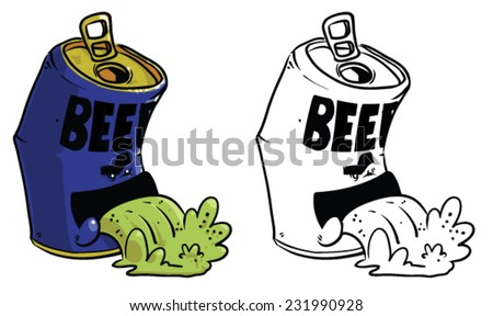 Cartoon beer can throwing up - Vector clip art illustration on white background - stock vector