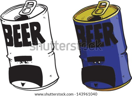 Cartoon Beer Can Vector Clip Art Illustration On White Background