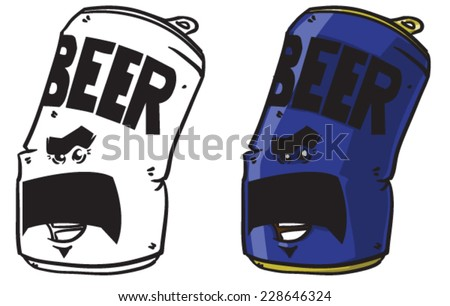 Cartoon beer can - Vector clip art illustration on white background - stock vector