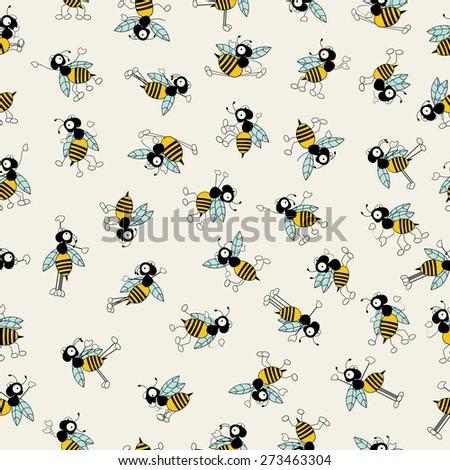 Cartoon bees characters dancing, seamless pattern design - stock vector