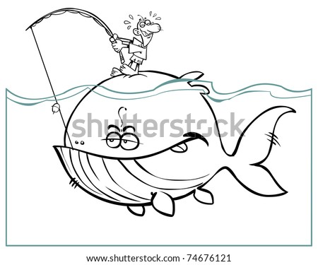 Cartoon big fish- black and white. - stock vector