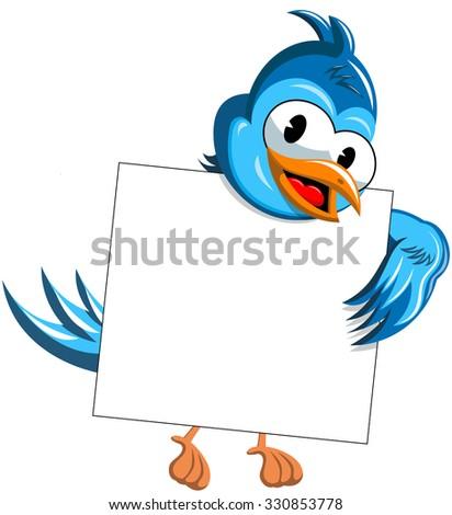 Cartoon bird behind blank banner isolated - stock vector