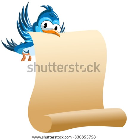 Cartoon Bird holding with beak blank scroll paper isolated - stock vector