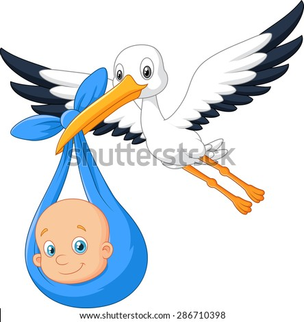 Cartoon bird Stork with baby - stock vector