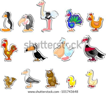 Cartoon birds - stock vector
