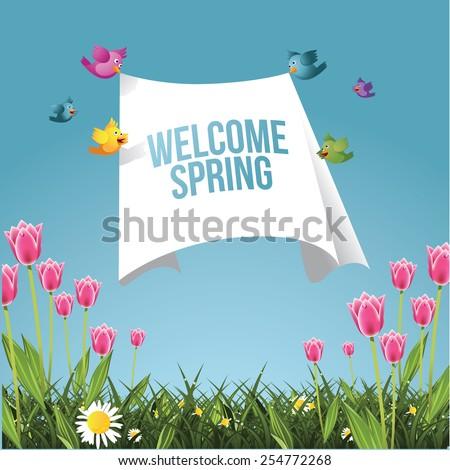 Cartoon birds flying with welcome spring message EPS 10 vector royalty free stock illustration for greeting card, ad, promotion, poster, flier, blog, article - stock vector