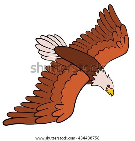 Cartoon birds for kids: Eagle. Cute bald eagle flies and smiles. - stock vector