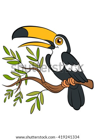 Cartoon birds for kids. Little cute toucan sits on the tree branch and smiles. - stock vector