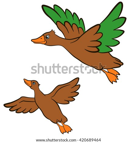 Cartoon birds for kids. Two little cute ducks flies and smiles. They are happy. - stock vector