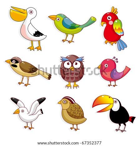 cartoon birds icon - stock vector
