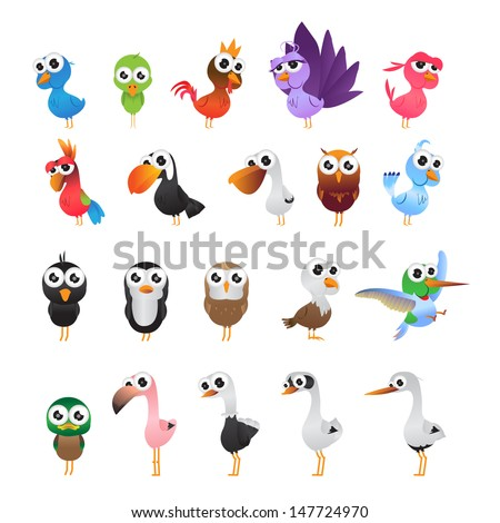 Cartoon Birds Set - Isolated On White Background - Vector Illustration, Graphic Design Editable For Your Design. - stock vector