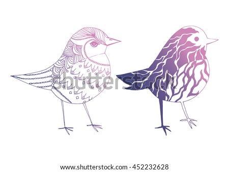 cartoon birds stylized birds set line art black and white drawing by