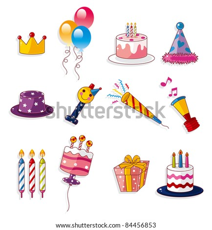 cartoon birthday icon - stock vector