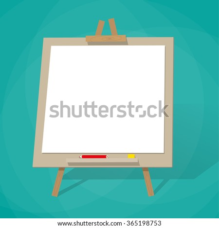cartoon blank presentation board with shadow. Vector Illustration in flat design on green background
