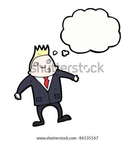 cartoon blond businessman with thought bubble