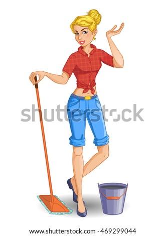 Hotel Service Staff Cleaning Floor Mop Stock Vector