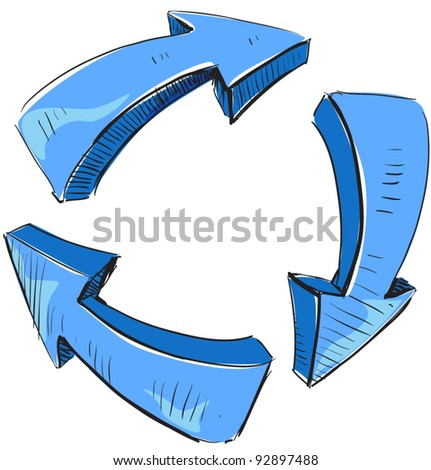 Cartoon blue arrows and recycle sign icon. Sketch fast pencil hand drawing illustration in funny doodle style.