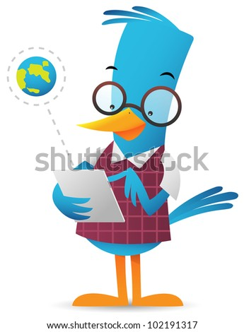 Cartoon Blue Bird browsing using tablet