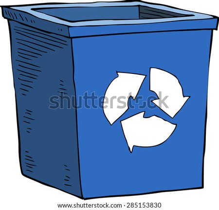 Cartoon blue recycle garbage can vector illustration - stock vector