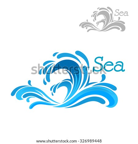 Cartoon blue sea wave splash on white background, for nature or water themes design - stock vector