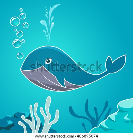 Cartoon blue whale under water. Whale on a background seabed.