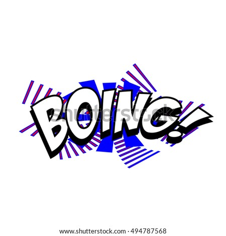 Cartoon boing sound colorful text caption vector illustration