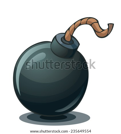 Cartoon Bomb with a Fuse, Vector Illustration isolated on White Background, Outlines and Color available on Separate Layer.