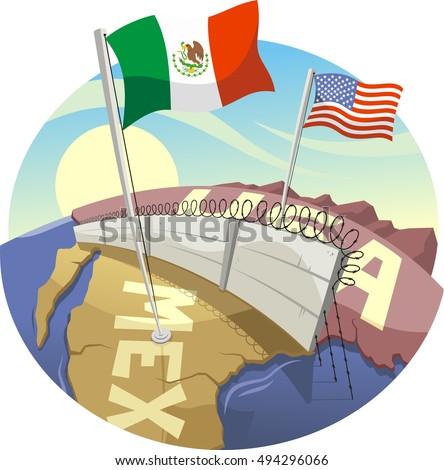 Cartoon Border Wall Between Mexico United Stock Vector (Royalty Free ...