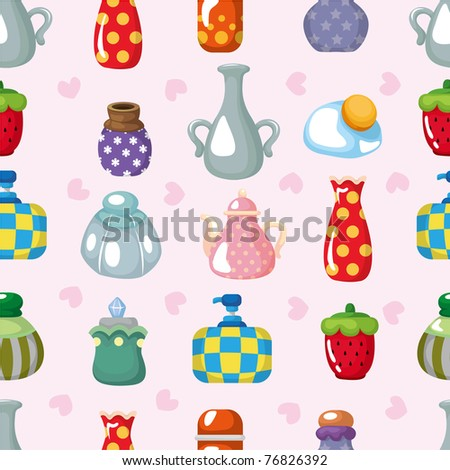 cartoon bottle seamless pattern - stock vector