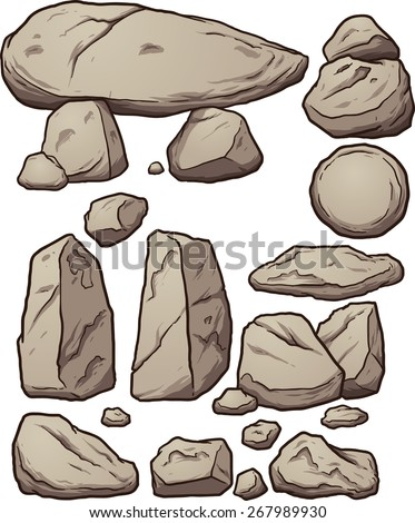 Cartoon boulders. Vector clip art illustration with simple gradients. Each element on a separate layer.  - stock vector