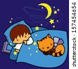cartoon boy and cat sleeping in bed at night - stock vector