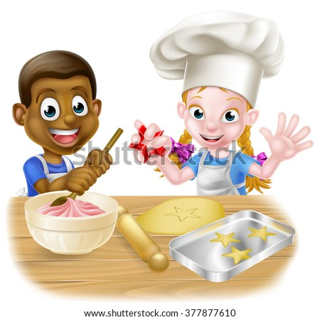 Cartoon boy and girl children, one black one white, dressed as chefs or bakers in aprons baking cakes and cookies - stock vector