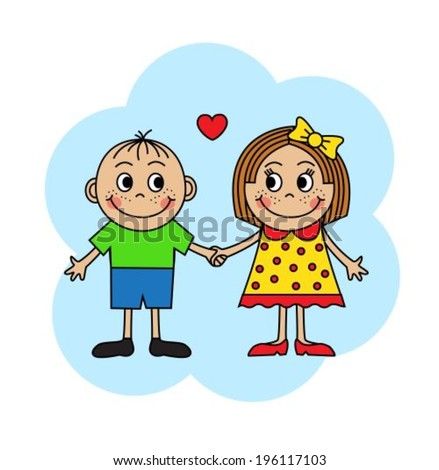 Cartoon boy and girl in love holding hands
