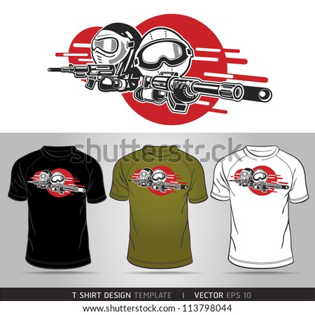 Cartoon Boy and Girl play Airsoft Guns Vector. T-shirt design - stock vector