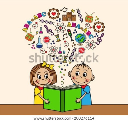 Cartoon boy and girl reading a book while sitting at a table. Depart from the book pictures, letters, signs and symbols of knowledge.  - stock vector