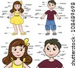 Cartoon boy and girl. Vocabulary of body parts. Vector illustration. - stock photo