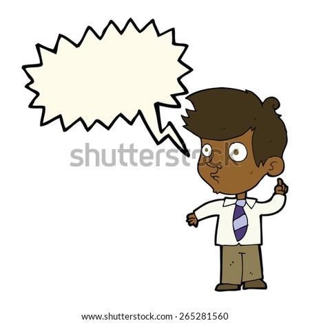 cartoon boy asking question with speech bubble - stock vector