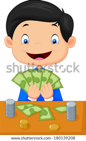 Cartoon boy counting the money - stock vector