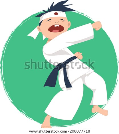 Cartoon boy doing karate, vector illustration, no transparencies  - stock vector