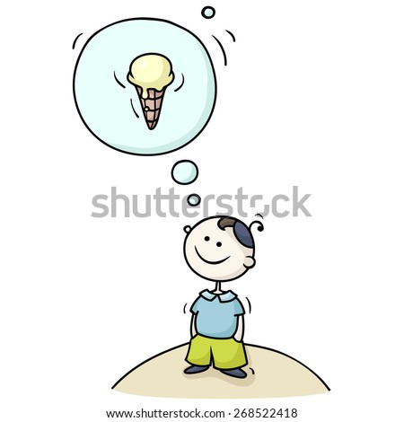 Cartoon boy dreaming with a thought bubble. Cute kid fantasizing about ice-cream. Hand-drawn vector illustration isolated on white. - stock vector